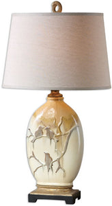 Uttermost 32 inchh Pajaro 1-Light Table Lamp Ivory/Bronze/Green/Gold 26498