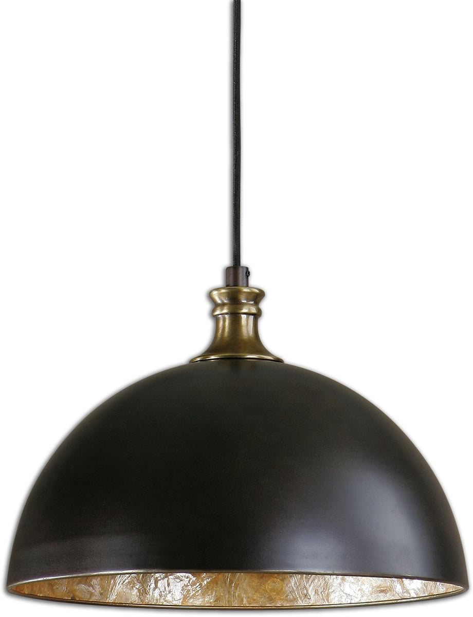 Placuna 1-Light Pendant Pacific Bronze with Antique Brass accent