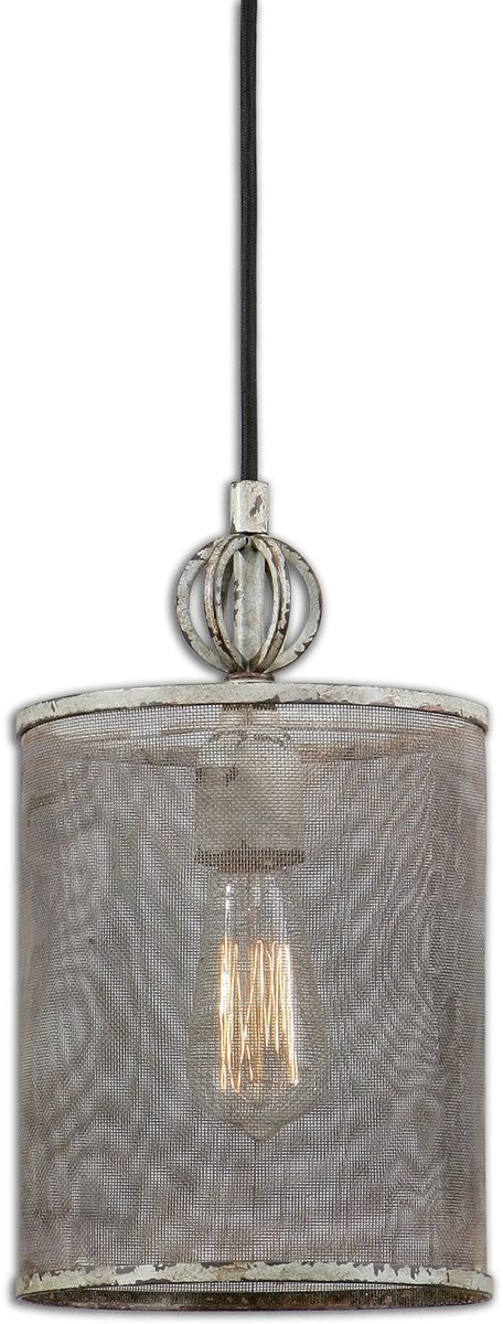 Pontoise 1-Light Mini Pendant Distressed Antiqued ivory