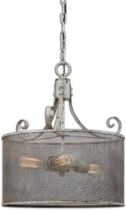 Pontoise 3-Light Drum Pendant Distressed Antiqued ivory