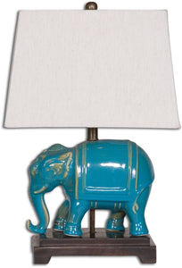 Uttermost 18 inchh Pradesh 1-Light Table Lamp Distressed Blue 26210