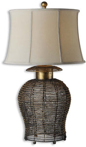 Uttermost Rickma 1-Light Table Lamp Antique Gold Leaf 27650
