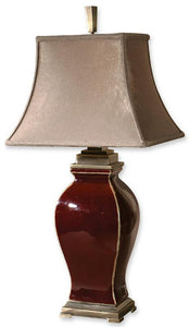 "33""h Rory 2-Way Table Lamp Burgundy Ceramic with Bronze Metal"