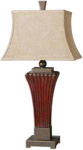Uttermost 36 inchh Rosso 1-Light Table Lamp Dark Red / Golden Bronze 26465