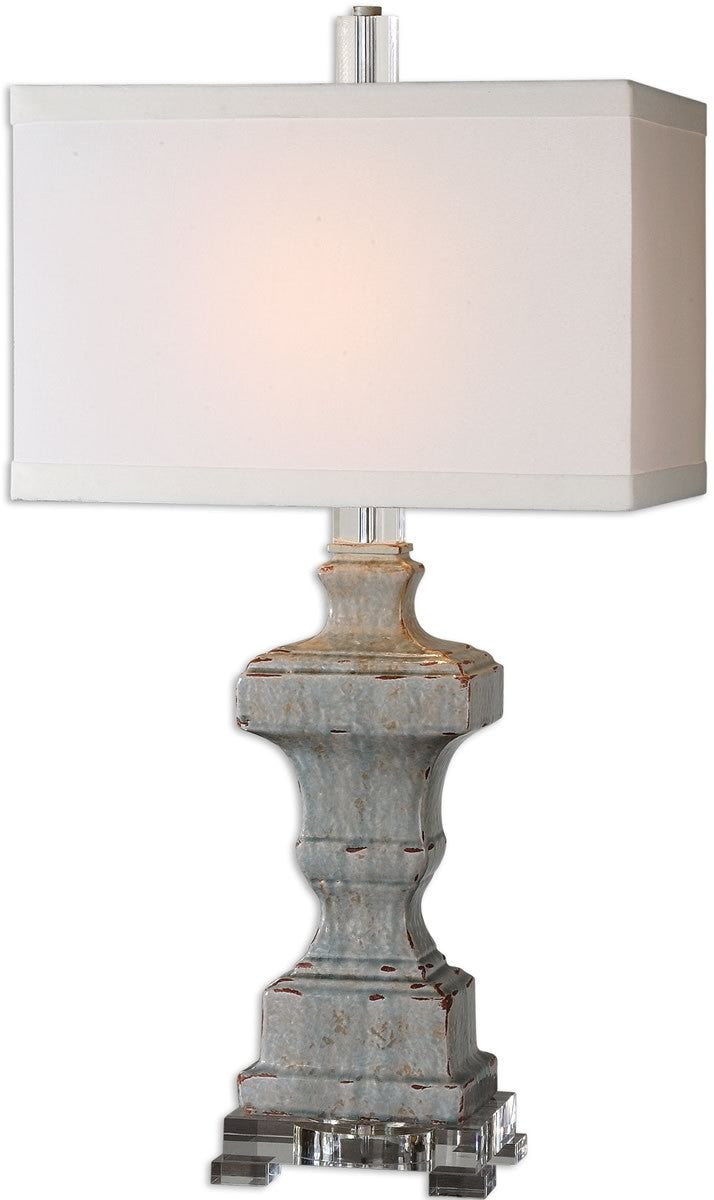 "32""H San Marcello 1-Light Table Lamp Distressed Light Blue"