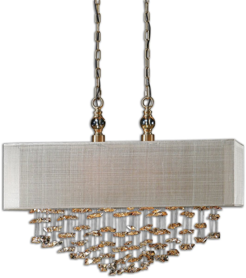 "30""W Santina 2-Light Pendant Plated Antiqued Brushed Brass"