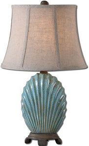"22""h Seashell 1-Light Table Lamp Heavily Crackled Blue"