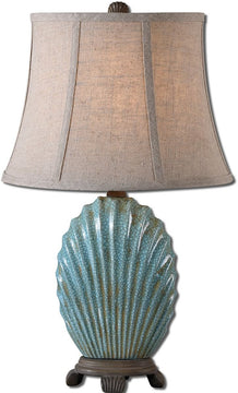 "23""H Seashell 1-Light Table Lamp Heavily Crackled Blue"