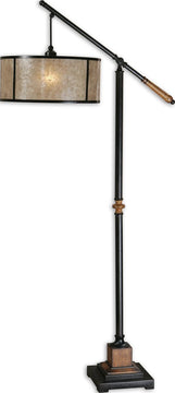 "62""H Sitka  1-Light Arc Floor Lamp Black/Mahogany/Glaze"