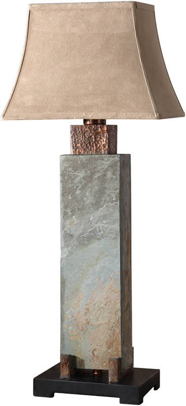 "37""H Slate Tall Table Lamp Hand Carved Slate"