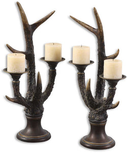 Uttermost Stag Horn Candle Holder Burnished Bone Ivory 19204