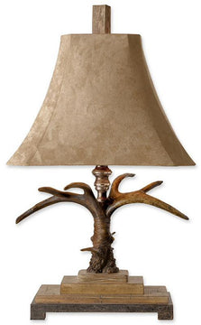"31""H Stag Horn 2-Way Table Lamp Natural Brown/Ivory/Silver/Aluminum"