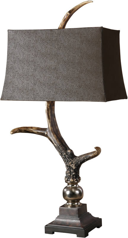 "40""H Stag Horn 2-Way Table Lamp Burnished Bone Ivory"