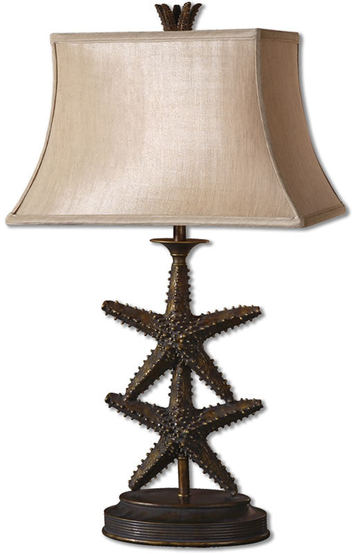 "30""H Starfish 1-Light Table Lamp Antiqued Gold"