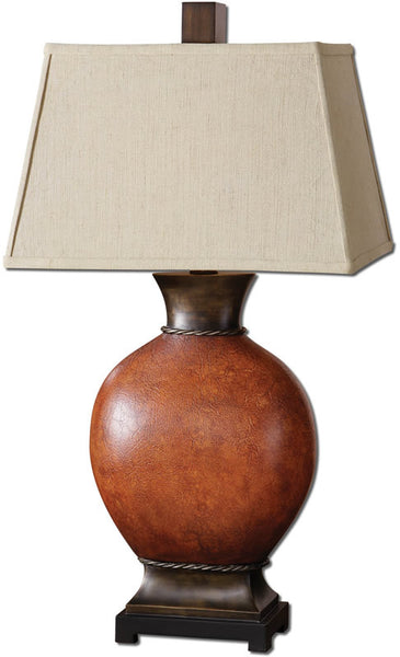 Uttermost Suri 1-Light Table Lamp Burnished Dark Red 26517