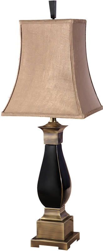 "38""H Benedict 2-Way Table Lamp Black Ceramic Bronze Metal Detail"