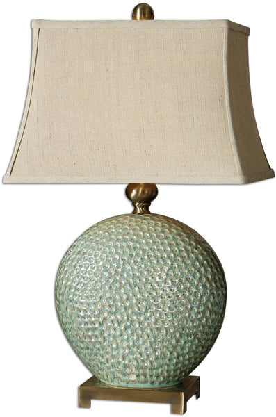 Uttermost Destin 1-Light Table Lamp Aquamarine Glaze 26807