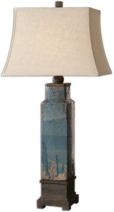 "38""h Soprana 1-Light Table Lamp Distressed Blue Glaze"