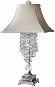 "Fascination II 33""H 1-Light Crystal Table Lamp Silver"