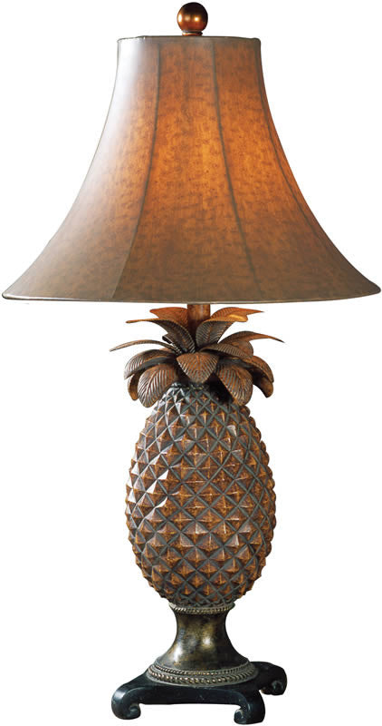 "30""H Anana 2-Way Table Lamp Brown Glaze Bronze Accents"