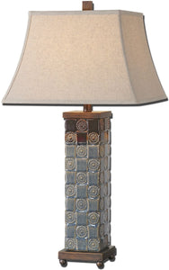 Uttermost Mincio 1-Light Table Lamp Dark Blue Glaze 27398