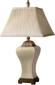 Uttermost Ivan 2-Way Table Lamp Heavily Crackled Aged Ivory Porcelain 27728