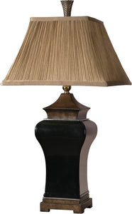 Uttermost Delmar 2-Way Table Lamp Ebony Glaze 27729
