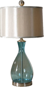 Uttermost Meena 2-Way Table Lamp Clear Blue Mouth Blown Glass 278621