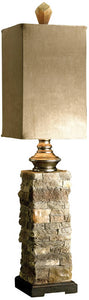 "31""h Andean 2-Way Table Lamp Ivory And Browns"