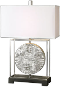 Uttermost 29 inchh Taratoare 1-Light Table Lamp Metallic Silver 26181-1