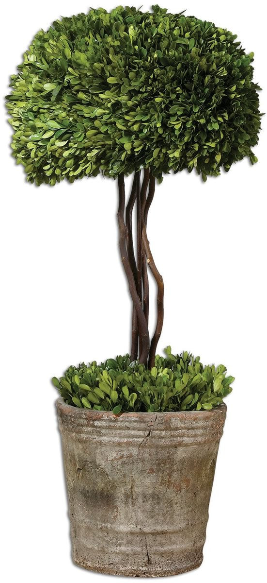 "33""H Tree Topiary Botanical Mossy Stone"