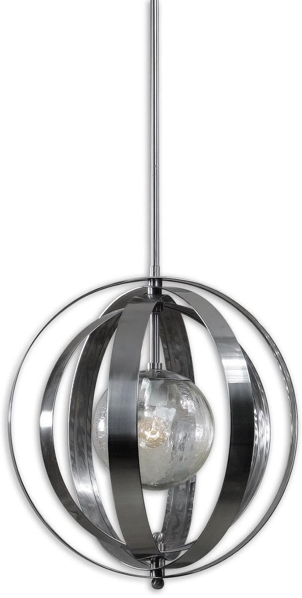 "19""W Trofarello Silver 1-Light Pendant Polished Nickel"