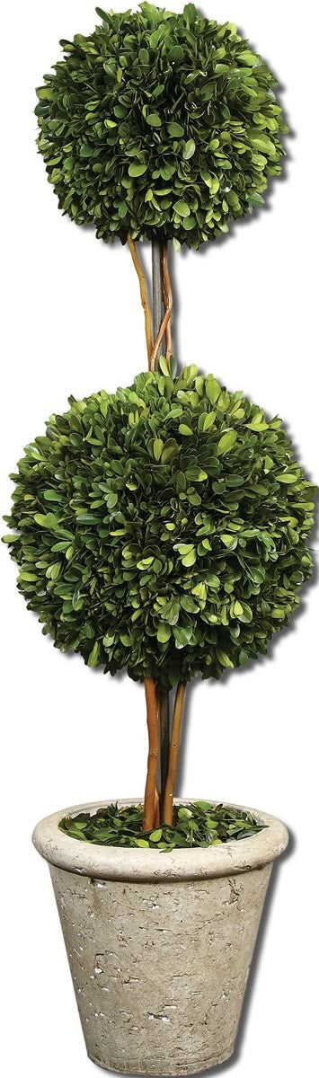"36""H Two Sphere Topiary Botanical Natural Evergreen"
