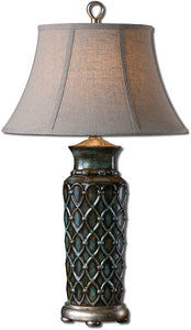 "31""h Valenza 1-Light Table Lamp Heavily Burnished Wash"