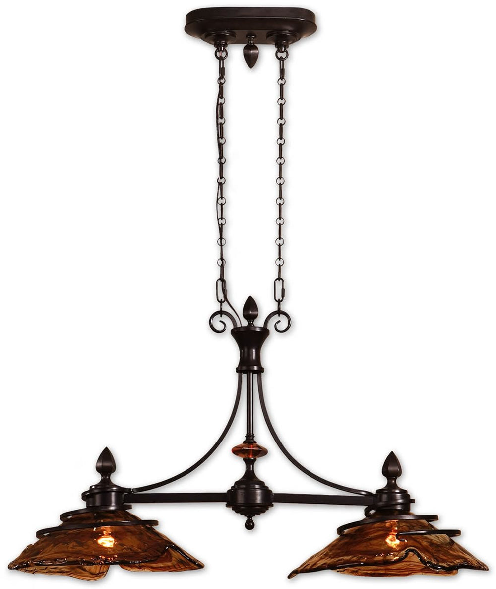 "42""W Vitalia 2-Light Kitchen Island Light Oil Rubbed Bronze"