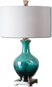 Uttermost 28 inchh Yvonne 1-Light Table Lamp Polished Nickel 26770-1