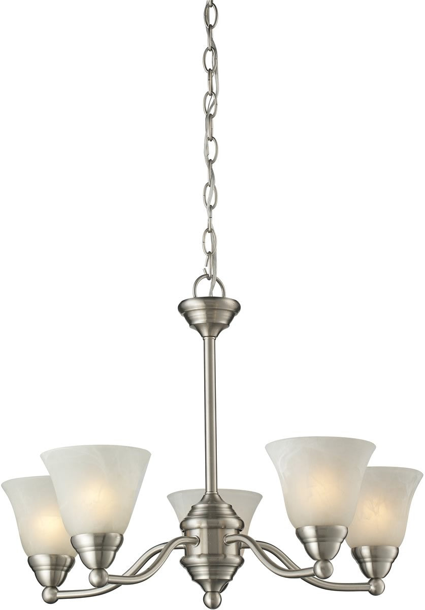 "23""W OPEN BOX Athena 5-Light Chandelier Brushed nickel"