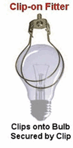 A clip-on candelabra bulb fitter
