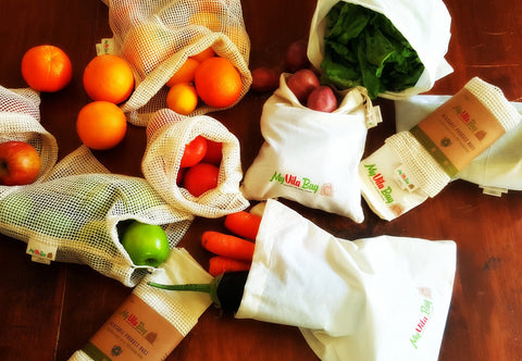 4 x mixed organic cotton reusable produce bags