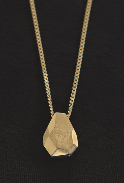 teardrop pendant on long chain - gold
