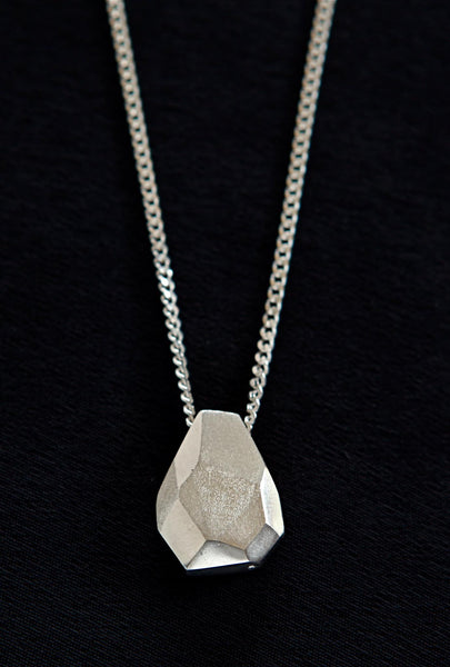 teardrop pendant on long chain - silver