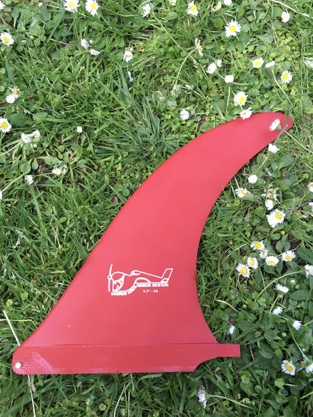"9"" ryan lovelace hand foiled ""greenough"" 4a fin - red"