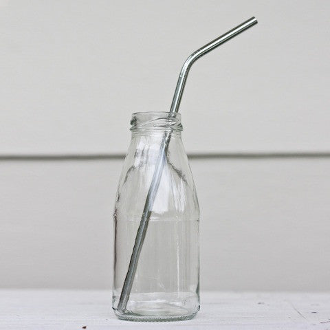 reusable stainless steel straws x 2 classic & straw cleaner