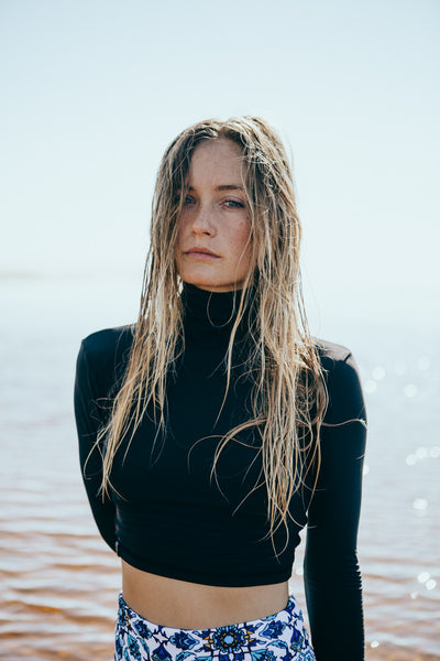 turtleneck rashie - black