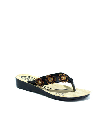 Triple Flower Flip Flop Black/Red - shop.livefree.co.uk