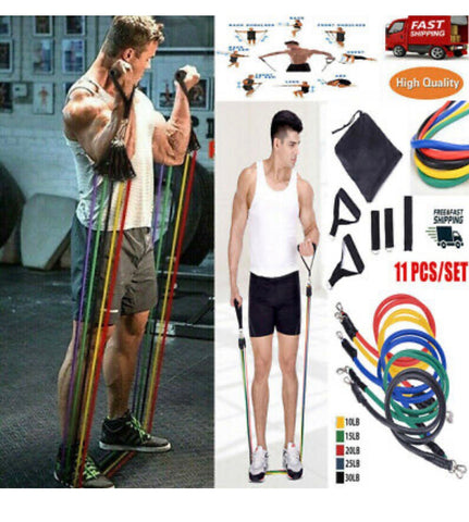 FINTESS EQUIPMENT 11PCS RESISTANCE BANDS SET - shop.livefree.co.uk
