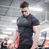 Compression Quick dry T-shirt Men Running Sport Skinny Short Tee Shirt Male Gym Fitness Bodybuilding Workout Black Tops Clothing - shop.livefree.co.uk