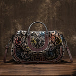 Women Genuine Leather Bag Cross Body Messenger Tote Handbag Vintage Brush Color Luxury Female Embossed Shoulder Top Handle Bags - shop.livefree.co.uk