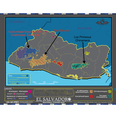 Cafe Imports coffee map of El Salvador