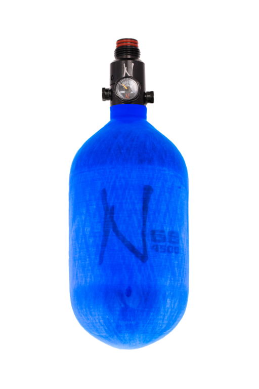 NINJA LITE CARBON FIBER AIR TANK - 68/4500 W/ ADJUSTABLE REGULATOR - Translucent Blue